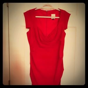 Red Nicole Miller Ruching Dress in Size 8